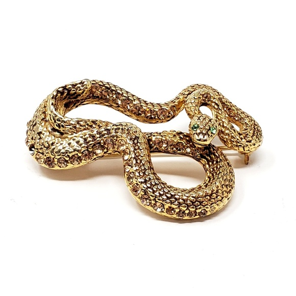 87e3039d0b7 Vintage Jewelry Jewelry | Vintage Rhinestone Green Eyed Gold Snake ...